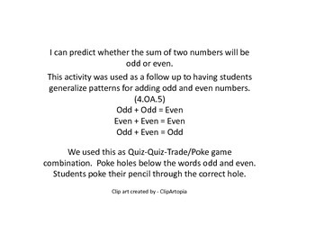 4.0A.5 - Predicting Odd and Even Sums