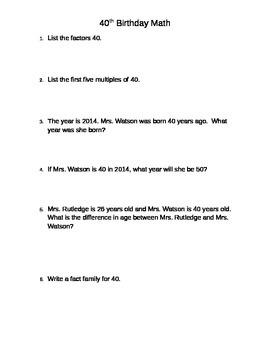 40th Birthday Math