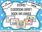 41 Striped Book Bin Labels in Spanish for Primary Classroom Libraries