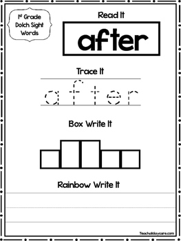 41 Dolch 1st Grade Word Worksheets. Tracing, Box Write, Ra