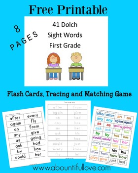 41 Dolch Sight Words for First Grade