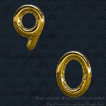 41 Gold Balloon Alphabet Clip arts, Luxury Party Alphabet