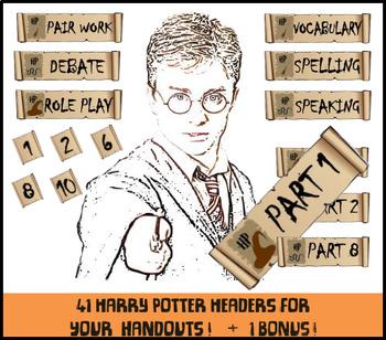 FREE - 41 Harry Potter Headers Clip Art