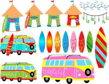 41 PNG Files- Summer Surfing ClipArt- Digital Clip Art - 300 dpi 115