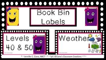 Pink Polka Dot Book Bin Labels