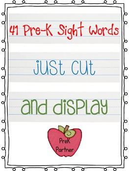 41 Pre-K Sight Words