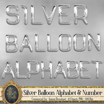 41 Silver Balloon Alphabet Number Symbol PNG Clip arts
