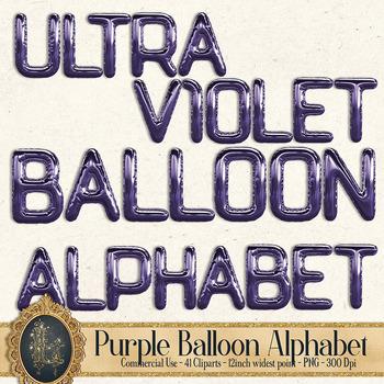 41 Ultra Violet Balloon Alphabet Clip arts, Purple Alphabet