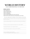 UNIT 7 LESSON 5. World History Fall Semester Final Exam Review QUESTION PACKET