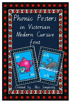 41 australian PHONIC posters charts in VICTORIAN MODERN CURSIVE FONT