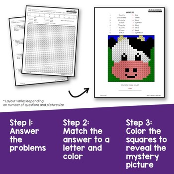 Math Review Packet for 3rd Grade, Multiple Step Word Problems Mystery Pictures