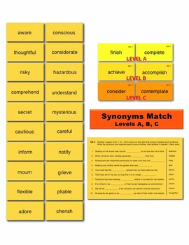 Synonyms A Match Manipulatives & Task Cards