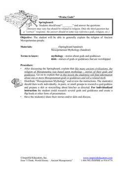 4101-10 Religion in Ancient Mesopotamia Research Lesson
