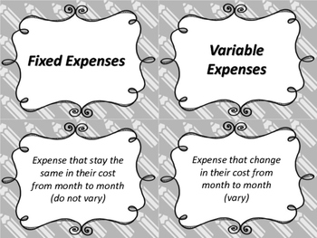 4th Grade Personal Finance Fixed and Variable Expenses Task Cards TEK 4.10A