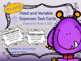 4th Grade Personal Finance Fixed and Variable Expenses Tas
