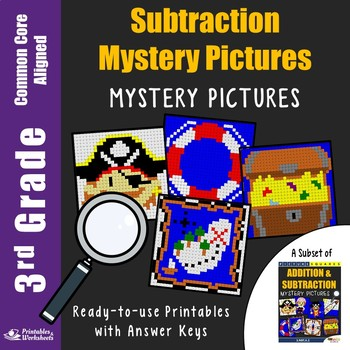 Subtraction Center 3rd Grade, Math Color by Number-Letter Code Mystery Pictures