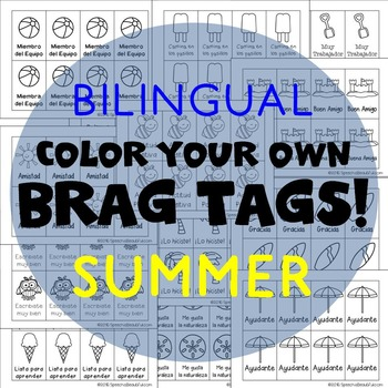 416 Bilingual Brag Tags for SUMMER in English and Spanish