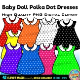 42 Baby Doll Polka Dot Dresses Clip Art for Personal and C