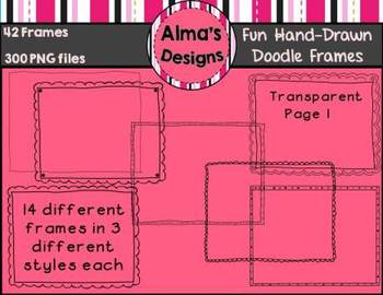42 Black and White Fun Hand-Drawn Doodle Frames Commercial Use