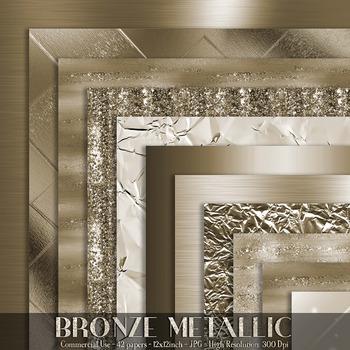42 Bronze Metallic Texture Digital Papers