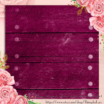 42 Burgundy Wood Texture Digital Papers, Barn Wood Papers