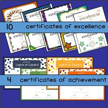 Spanish Certificados & Diplomas End of Year / Semester certificates diplomas