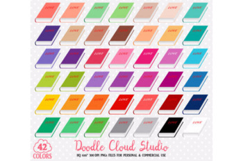 42 Colorful Book Clipart School copybook Love Diary planner stickers