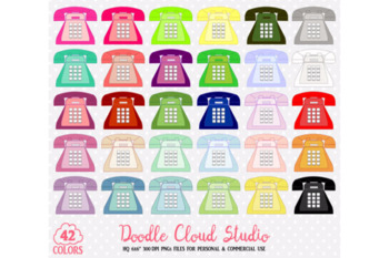 42 Colorful Telephone Clipart Cute Retro Telephone Vintage Old Phone Planner.