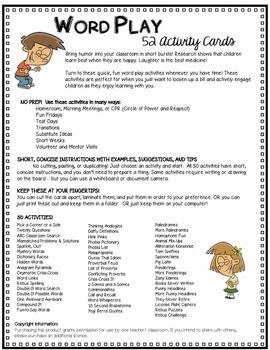 42 Word Play Activities – Bell Ringer, Substitutes, Transitions, Advisory