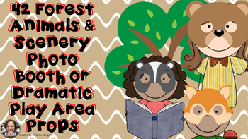 42 Forest Animals & Scenery Props Photo Booth Dramatic Play or Reader's Theater