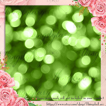 42 Greenery Bokeh and Glitter Digital Papers 12 x 12 inch
