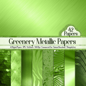 42 Greenery Metallic Texture Digital Papers 12 x 12 inch