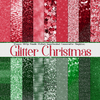 42 Luxury Christmas Shimmering Glitter Digital Papers 8.5x11 inch