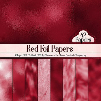 42 Luxury Red Metallic Foil Digital Papers 12 x 12 inch