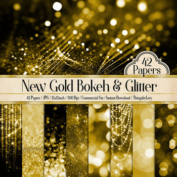 42 New Gold Bokeh and Glitter Papers Digital Papers