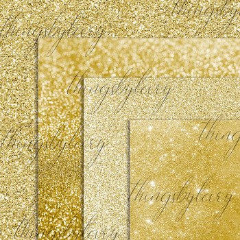 42 New Gold Glitter and Sequin Papers