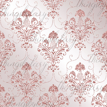 42 Pale Pink Peach Glitter Seamless Damask Ornament Overlays