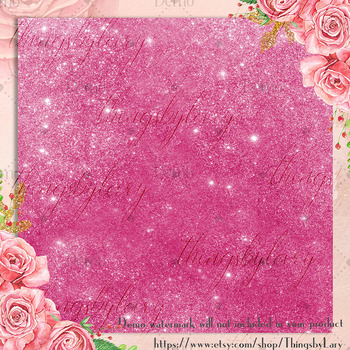 42 Pink Peacock Shimmer Glitter and Sequin Papers