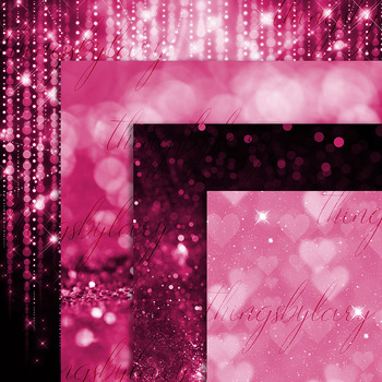 42 Pink Peacock Sparkle Bokeh and Glitter Papers