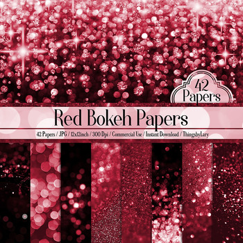 42 Red Luxury Bokeh and Glitter Digital Papers