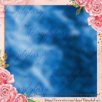 42 Royal Blue Metallic Foil Texture Digital Papers