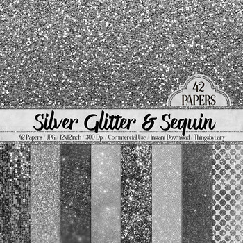 42 Silver Luxury Shimmer Glitter and Sequin Digital Papers
