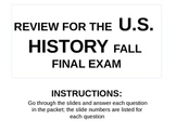 US HIS Fall Final Exam Review POWERPOINT