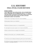 US HIS Fall Final Exam Review QUESTION PACKET