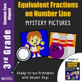 Math Coloring 3rd Grade Equivalent Fractions on Number Line Worksheets