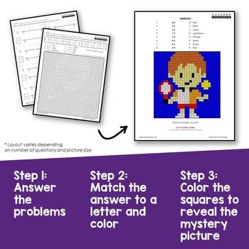 Math Coloring 3rd Grade Equivalent Fractions on Number Line Worksheets
