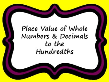 4.2B & CC 4.NBT.A.1 and 4.NF.C.7  Place Value of Whole Num