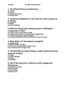 x U.S. HISTORY American Civil War TEST