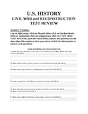 US HIS American Civil War Test Review QUESTION PACKET