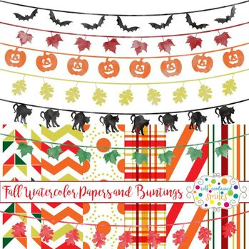 43 Fall/Halloween Watercolor Buntings and 6 Papers